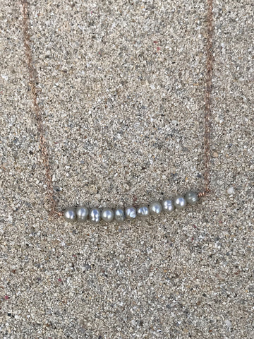 Gray Pearl Bar Necklace