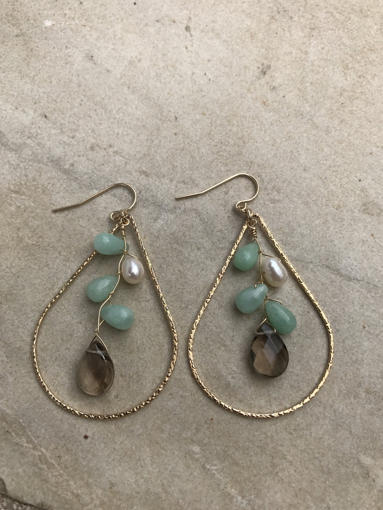 Gemstones in Gold Filled Teardrop Earrings