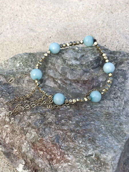 Lacey Gold and Amazonite Stretch Bracelet