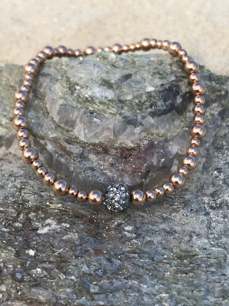 Rose Gold and Pave Diamond Stretch Bracelet