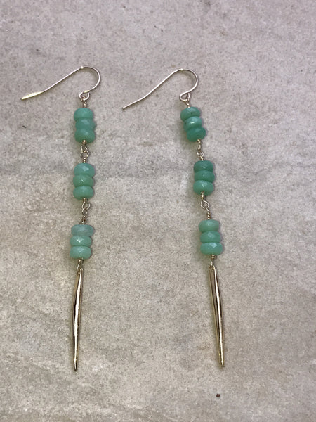 Amazonite with Gold Filled Spike Earrings