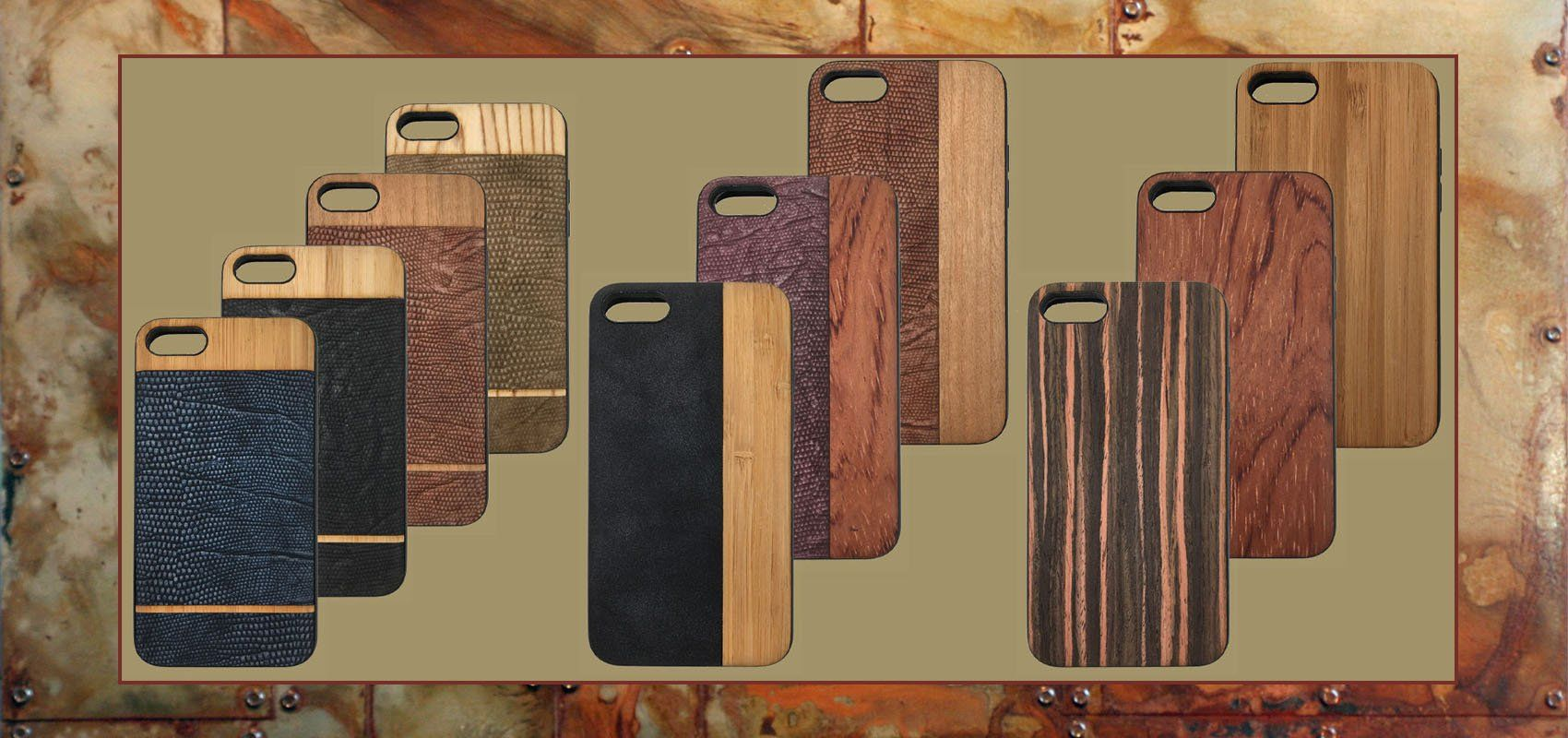 Classy Faux-Leather and Genuine Wood Cases for iPhones 6-7-8