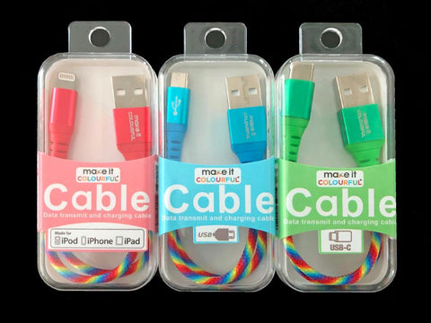 Colorful USB cable, Short USB cable (micro, Type C, Lightning) - Mac me colourful