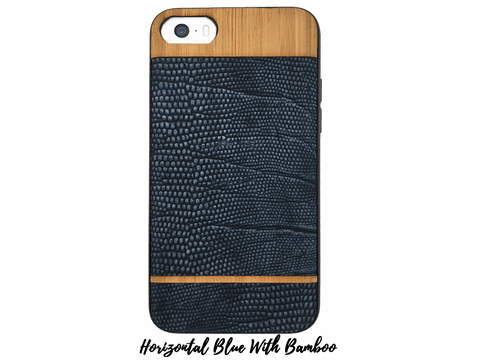 Faux-Leather and Wood Cases for iPhones 6-6s-7-8 Faux-Leather and Wood Cases Make it COLOURFUL Horizontal Blue With Bamboo