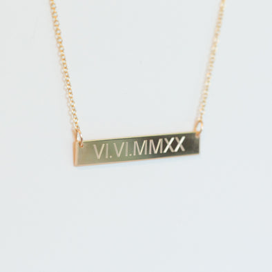 Custom Roman Numerals Necklace