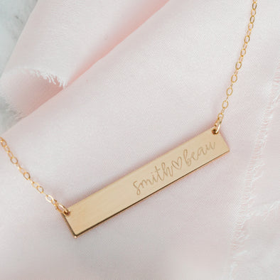 Horizontal Bar Necklace - Custom Engraving