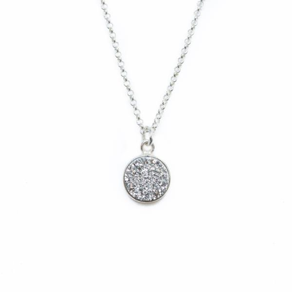 Shine On! Silver Druzy Pendant Necklace