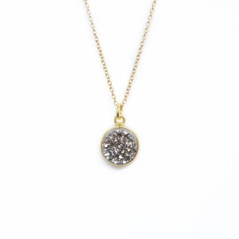 Shine On! Grey and Gold Druzy Pendant Necklace