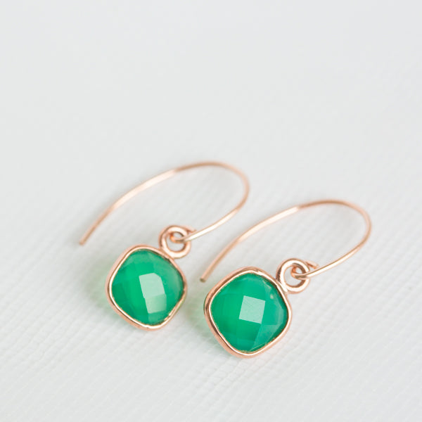 Green Onyx Gemstone Earrings