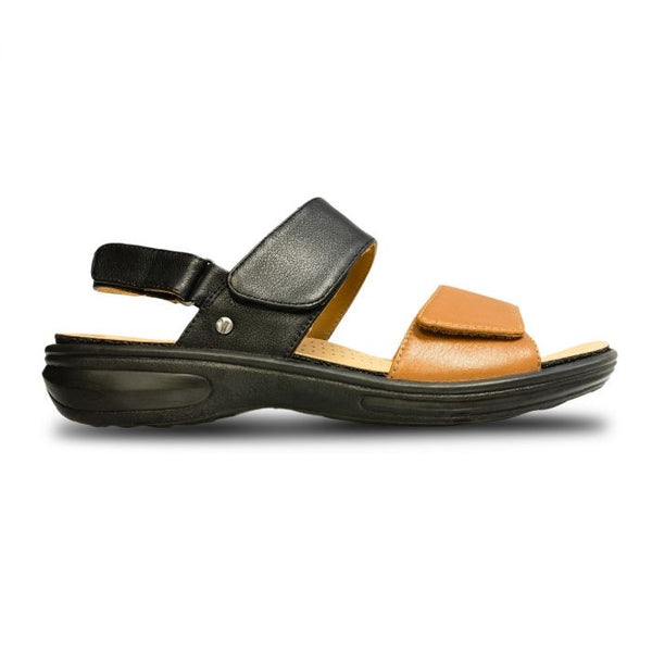 Como Back Strap Sandal Black/Tan