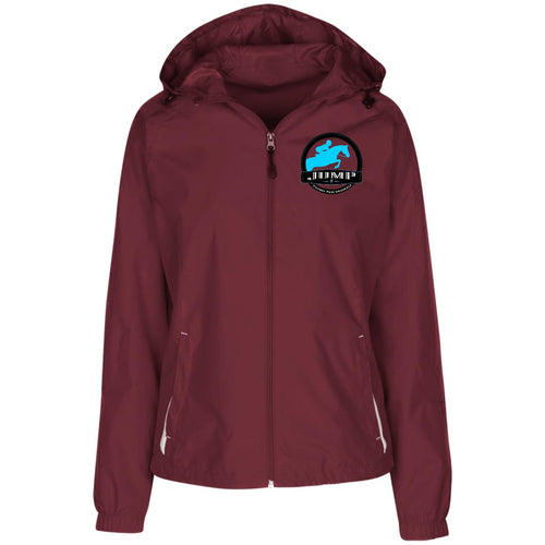 Ladies' Jersey-Lined Hooded Windbreaker- Jump Badge Embroidered