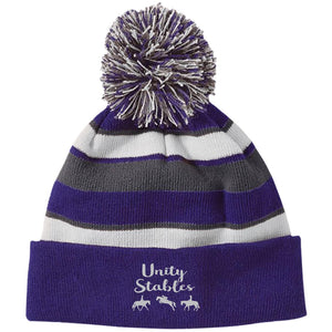 Unity Stables Striped Beanie with Pom