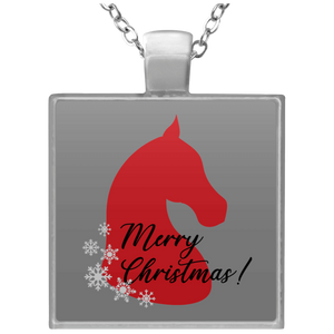 Saddlebred Christmas Square Necklace