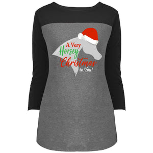 Horsey Christmas Juniors' Rally 3/4 Sleeve T-Shirt