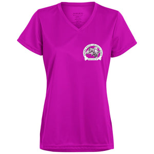 ESAHA Ladies' Wicking V-neck T w/ purple ink back design