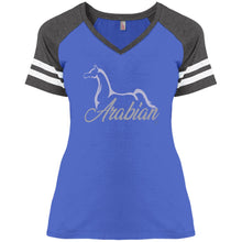 Ladies V-Neck Jersey T-Silver Ink
