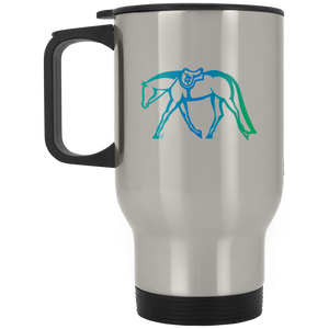 Hunter Under Saddle Fade on Silver Stainless Travel Mug