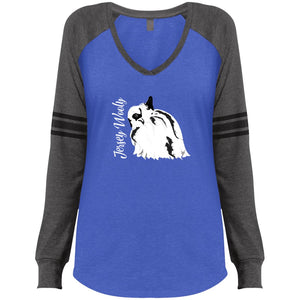 Jersey Wooly Ladies' Game LS V-Neck T-Shirt