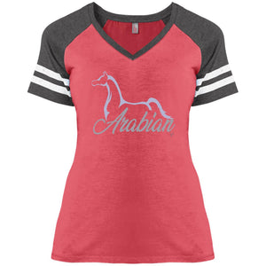 Arabian Ladies V-Neck Jersey T-Silver Ink
