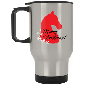 Saddlebred Christmas Silver Stainless Travel Mug