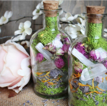 Healing Herb and Crystal Terrarium Jar | Bohemian Decor