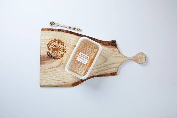 Wooden Charcuterie Board with Honeycomb and wooden dipper