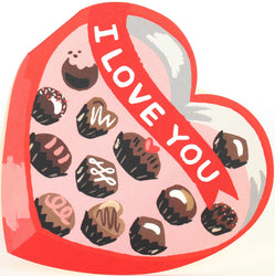 heart shaped die cut box of chocolates folded greeting card with I love you banner and pink and red