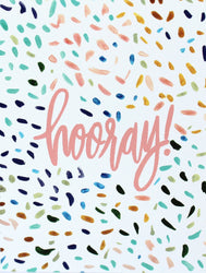 hand lettered hooray with colorful confetti greeting card