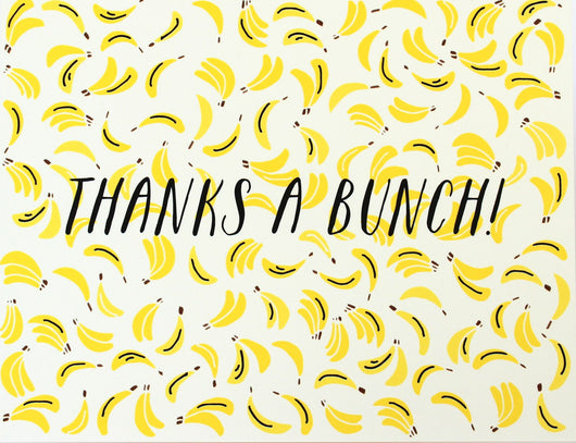 thanks a bunch bright yellow banana pattern thank you greeting card