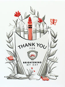thank you for brightening my day red crayon in box with flowers, butterfly, snail greeting card