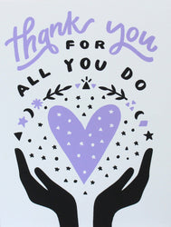 thank you for all you do hands holding purple heart magic moons greeting card