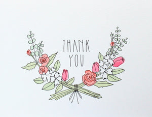 thank you card with neon roses, tulips, hyacinth and eucalyptus crest wreath