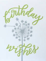 birthday wishes happy birthday greeting card screen print wth hand lettering and silver dandelion being blown
