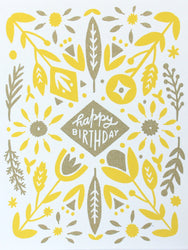 gold and yellow screen printed happy birthday greeting card with symmetrical folk pattern
