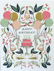 happy birthday greeting card with symmetrical illustrations of colorful balloons, party hats, plants and a pink birthday cake