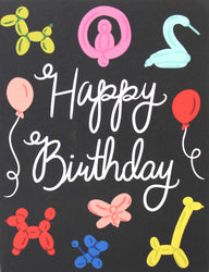 happy birthday greeting card black with white hand lettering and colorful balloons and balloon animals