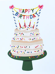 happy birthday bunting on vanilla cake tiered cake with sprinkles on green cake stand