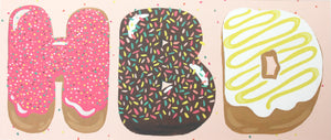 pink, chocolate and yellow icing with sprinkles hbd donuts happy birthday greeting card long size a9