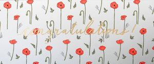 gold foil congratulations size a7 greeting card with neon orange poppy pattern poppies