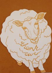 orange letterpress die cut sheep thank ewe thank you greeting card