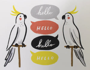 hello greeting card with talking cockatiel parrots