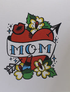 mom banner over heart classic tattoo greeting card