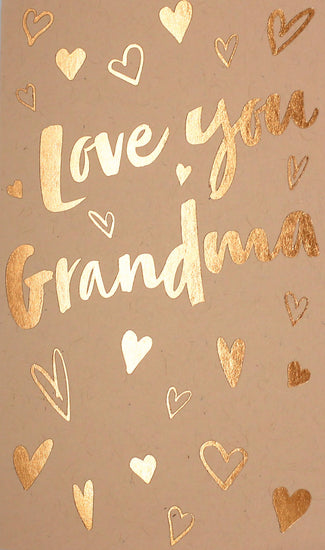 blush love you grandma bronze foil hearts mother's day greeting card