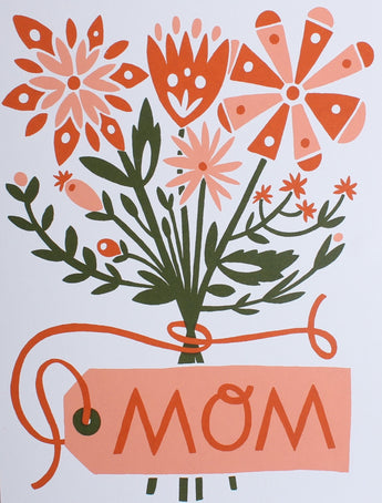 pink bouquet on white greeting card for mother's day with pink mom tag screen printed