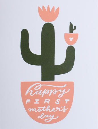 happy first mother's day greeting card screen printed cactus