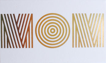 gold foil modern retro bold striped optical illusion bullseye font spelling mom on mini white card