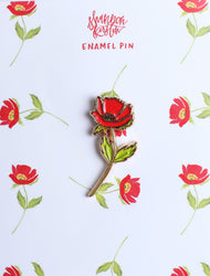 Red poppy rose tulip enamel pin on paper backing