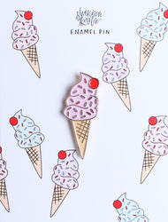 pink ice cream cone with cherry on top enamel pin flair flare