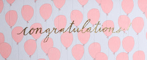 reflective gold foil congratulations long #10 card with neon pink ballon pattern