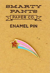 sparkly shooting star with pink and blue trail enamel pin